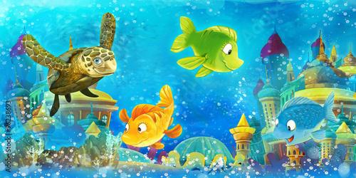 Cartoon underwater animals - illustration for the children