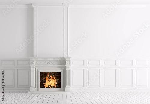 Stampa su Tela Empty classic white interior of a room with fireplace 3d renderi
