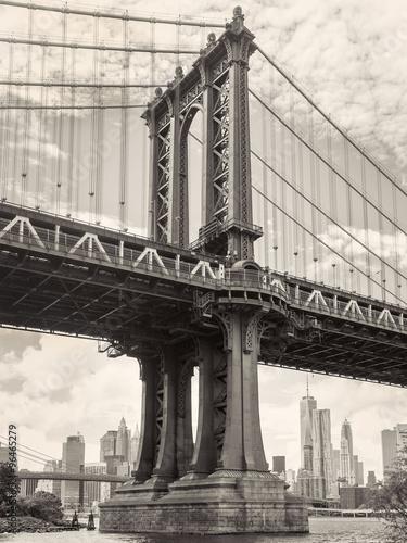 Black and white view of the Manhattan bridge in New York #96465279