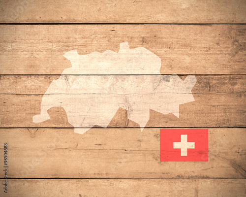 Canvas Print map of Switzerland