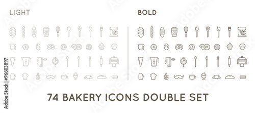 Obraz na płótnie Set of Vector Bakery Pastry Elements and Bread Icons Illustration can be used as