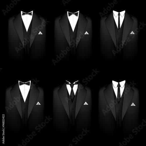 Photo Six black tuxedos