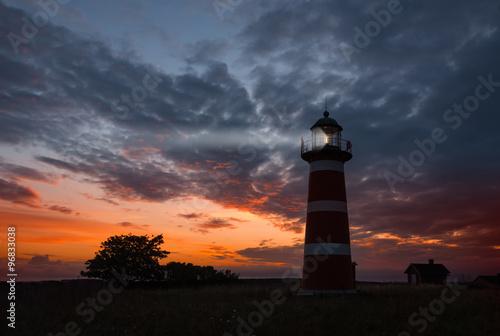 Lighthouse, Gotland   - The Närsholmen lighthouse on the island Gotland, Sweden at dusk.