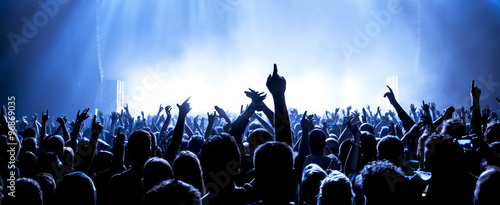 Fotografering cheering crowd at a rock concert