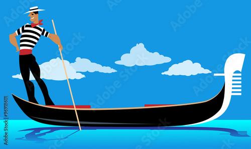Fotografie, Tablou Cartoon gondolier rowing a gondola, EPS 8 vector illustration, no transparencies