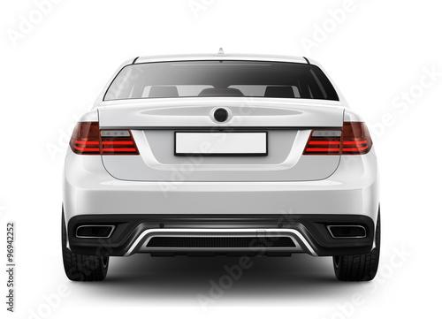 Stampa su Tela White sedan car - rear angle