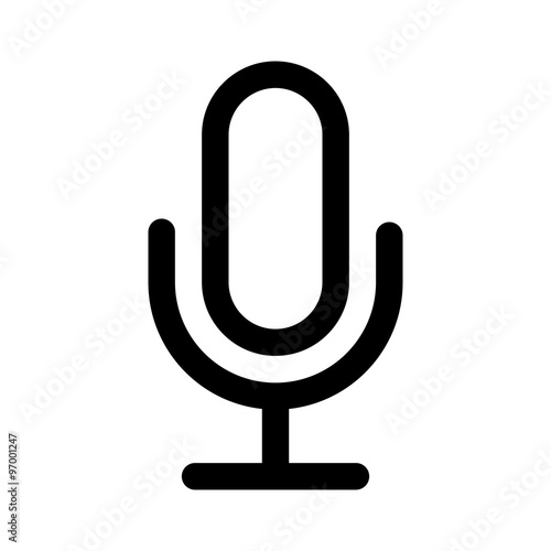 Slika na platnu Microphone speaker (speech to text) line art icon for apps and websites