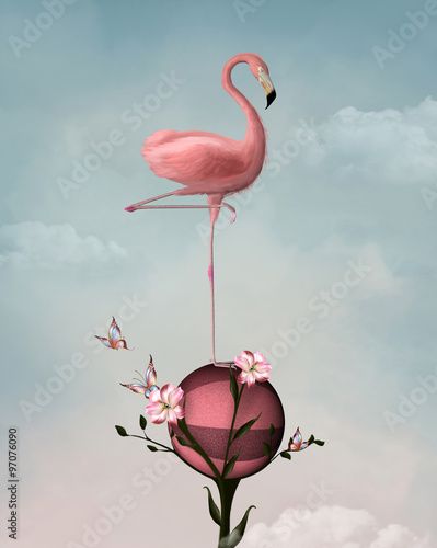 Fototapeta Surreal composition with flamingo and flowers