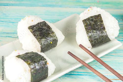 Rice ball,onigiri ,rice mixing with seaweed. #97100431