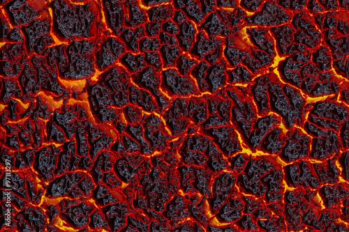The texture of molten lava