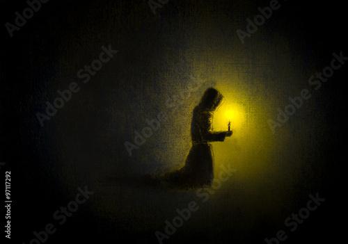 Obraz na płótnie praying monk