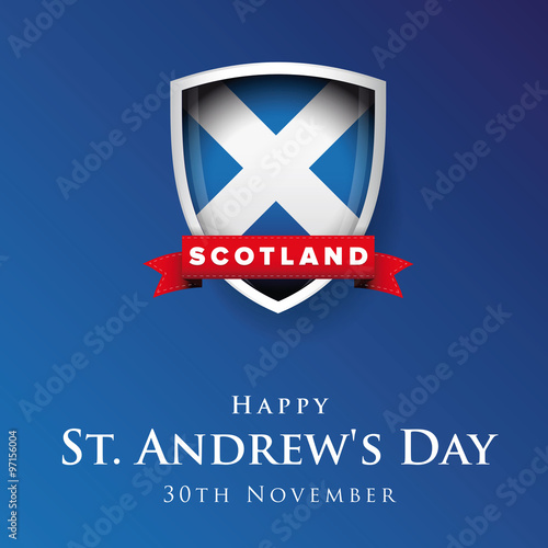 Wallpaper Mural St Andrew Day Scotland flag shield banner or poster