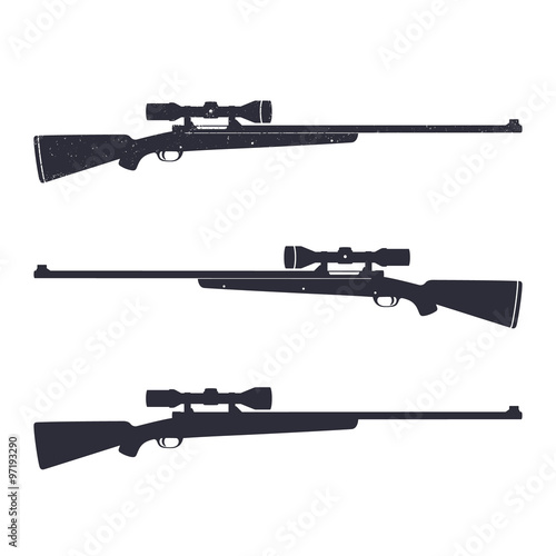 Fotografie, Obraz Hunting rifle with optical sight, sniper rifle, vector illustration