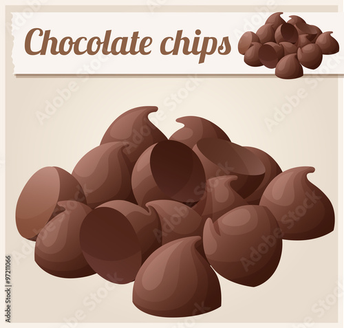 Fotografie, Obraz Semisweet chocolate chips. Detailed Vector Icon