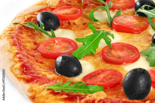 Pizza with mozzarella and arugula. Vegetarian pizza. #97260863