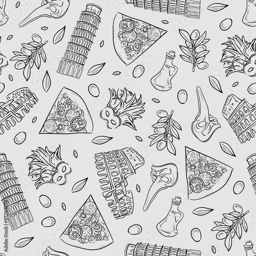Photo Seamless texture with Italy icons doodle hand drawn vector illustration