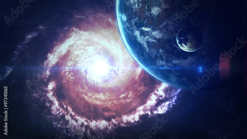 Universe scene with planets, stars and galaxies in outer space showing the beauty of space exploration. Elements furnished by NASA #97341065