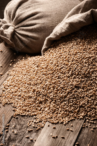 Photo Sacks of grain on old boards