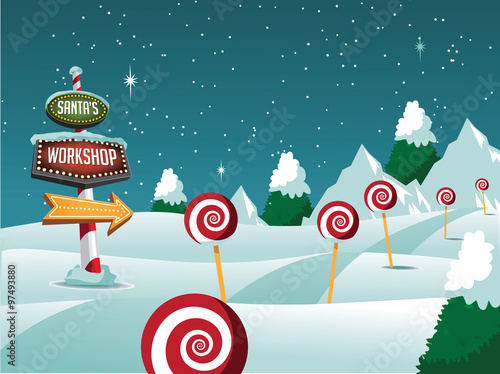 Carta da parati Santa's Workshop Christmas scene. EPS 10 vector illustration.
