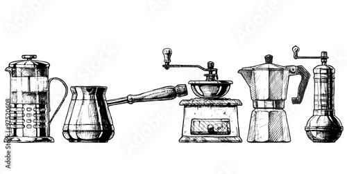 Fotomural Set coffee making equipment