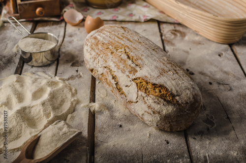 Homemade rustic bread, baked in oven #97589217