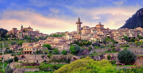 Fotografie, Tablou Valdemossa, monastery and hilltop town, Mallorca, Spain.