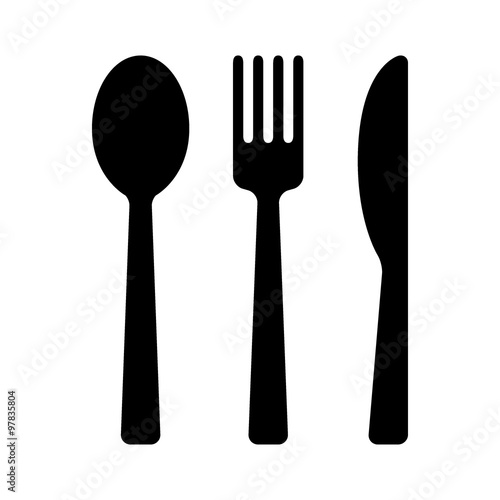 Obraz na plátně Dining silverware flat icon with spoon, knife and fork