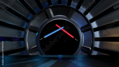 Lightsaber in space environment, ready for comp of your characters 3d rendering #97840435