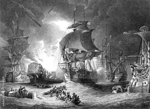 Canvas Print An engraved  illustration image of  the Battle of The Nile, from a vintage Victo