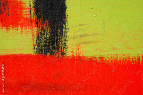 Brushstroke - black,  green and red acrylic paint  on  metal sur #97894296