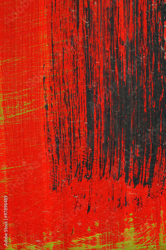 Brushstroke - black,  green and red acrylic paint  on  metal sur #97898489