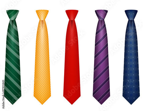 Murais de parede set icons colors tie for men a suit vector illustration
