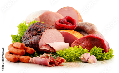 Meat products including ham and sausages isolated on white #98015021