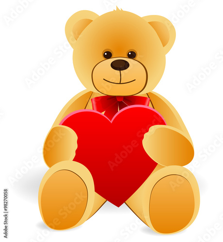 Toy Teddy Bear with heart. Isolated on white background #98270058