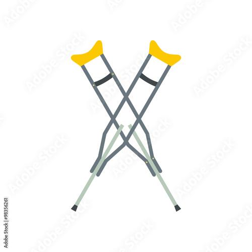 Obraz na płótnie Flat medical icon crutch on a white background