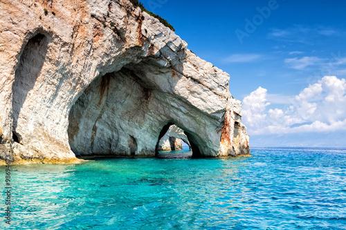Fototapeta Blue caves on Zakynthos Island in Greece