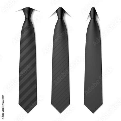 Black business neck ties with different styles of collars Fototapeta