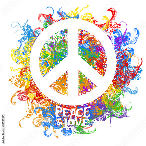 Fotografie, Obraz retro hippie symbol