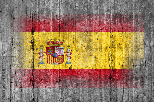 Wallpaper Mural Spain flag painted on background texture gray concrete