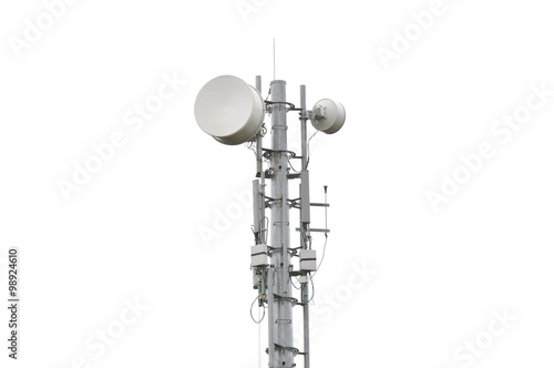 Fotografie, Tablou Very high telecommunication tower isolated on white