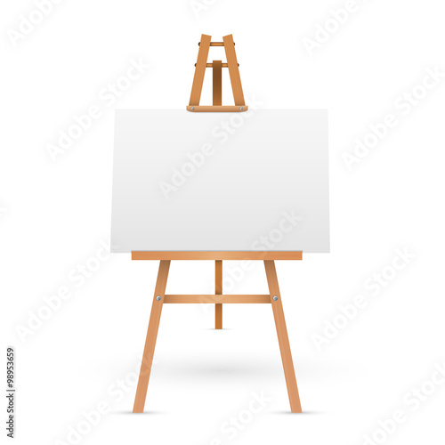 Canvas Print Wooden easel with blank canvas