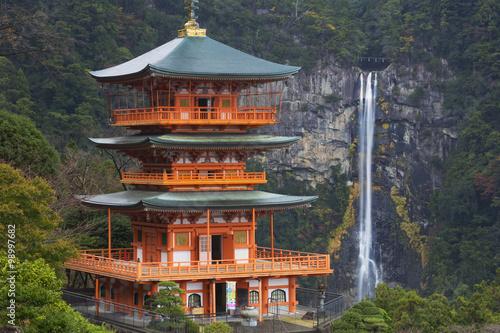 Fotografie, Obraz Pagoda and Nachi Falls in the Wakayama Prefecture, Japan