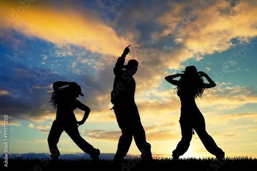 Canvas Print people dancer hip hop at sunset