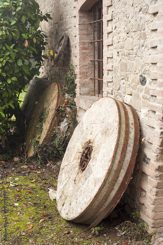 Old millstone for watermill