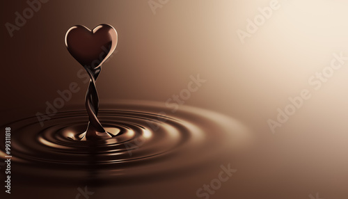 Photo Heart shape chocolate rising from chocolate ripples