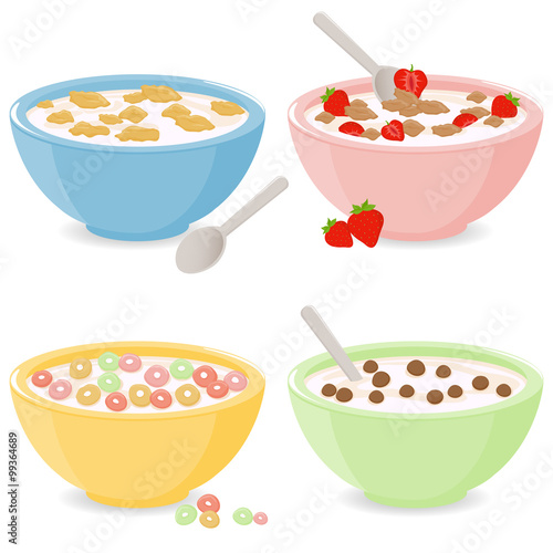 Photo Bowls of breakfast cereal