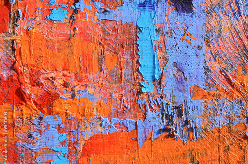 Farbflecken in orange und blau