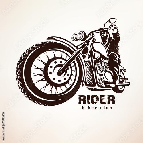 Fényképezés biker, motorcycle grunge vector silhouette