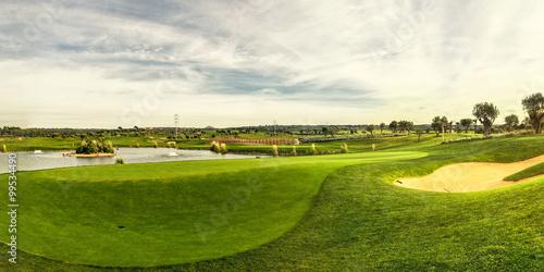 Fényképezés golf field landscape panorama