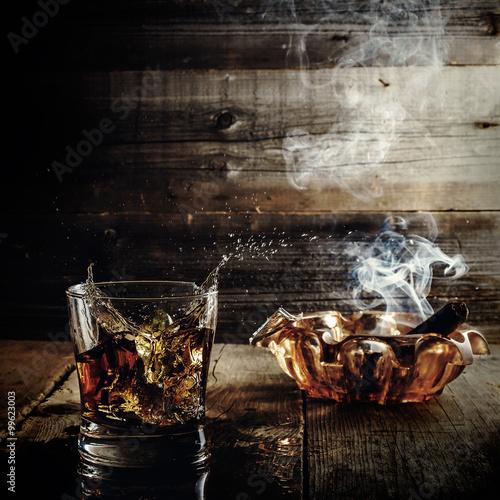 Obraz na plátně whiskey and cigars